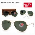 แว่นกันแดด RayBan แท้ทรง Aviator RB3025 001/58 กรอบทอง เลนส์ดำ Polarized ลดแสงสะท้อน size 58mm