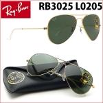 แว่นกันแดด RayBan แท้ทรง Aviator RB3025 L0205 กรอบทอง เลนส์ดำเขียว G-15 size 58mm