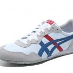 รองเท้าผู้ชาย Onitsuka Tiger Unisex Serrano Shoes D109L - สีขาวคาดน้ำเงิน-แดง สียอดนิยม