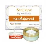 SenOdos เทียนหอมอโรม่า เทียนทีไลท์ Tealight Set Sandalwood Soy Candles - กลิ่นไม้หอมแก่นจันทร์แท้ 15 g. (6 PCS) + เชิงเทียน ที่วางเทียนทีไลท์ ศิลาดล (เซลาดล) สีเขียวหยกขอบทอง