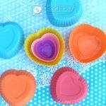 แม่พิมพ์ซิลิโคนถ้วยคัพเค้ก ทำขนม รูปหัวใจ 7 CM