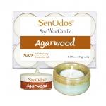 SenOdos เทียนหอมอโรม่า เทียนทีไลท์ Tealight Set Agarwood Soy Candles - กลิ่นไม้หอมกฤษณาแท้ 15 g. (6 ชิ้น) + เชิงเทียน ที่วางเทียนทีไลท์ ศิลาดล (เซลาดล) สีเขียวหยกขอบทอง