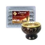 เตาเผาไม้หอม สีดำ ทอง กระถางธูป เครื่องหอมทุกชนิด ทำจากทองเหลืองแท้ + ถ่านพิเศษ ชาโคล สำหรับจุดไฟเผา 1 กล่อง