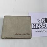 NS-12 กระเป๋าสตางค์ หนังแท้ สีเทา สลักคำตามรูป