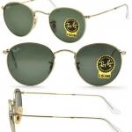 แว่นกันแดด RayBan round metal rb3447 001 กรอบทองทรงกลม เลนส์ดำเขียว g-15 size 50 mm