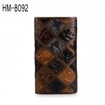 HM-8092 กระเป๋าสตางค์หนังแท้ ใบยาว หนังตัดต่อปั้มลาย ดีไซน์พับสาม