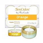 SenOdos เทียนหอม อโรม่า เทียนทีไลท์ Tealight Set Orange Scented Soy Candles Aroma - กลิ่นส้มแท้ 15 g. (6 PCS) + เชิงเทียน ที่วางเทียนทีไลท์ ศิลาดล (เซลาดล) สีเขียวหยกขอบทอง