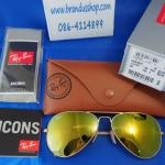 แว่นกันแดด Rayban แท้ทรง Aviator rb3025 112/93 ปรอททองอ่อนสีใหม่