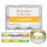 SenOdos Emotional Scented Soy Candles Aroma Creative (สร้างสรรค์) เทียนหอมอโรม่า (แพ็ค 6 ชิ้น) + เชิงเทียน ที่วางเทียนทีไลท์ ศิลาดล (เซลาดล) สีเขียวหยกขอบทอง