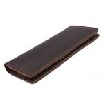LD-0122 กระเป๋าสตางค์ผู้ชาย ใบยาว หนังนูบัคน้ำมัน สีน้ำตาลเข้ม