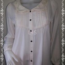 jp4057-เสื้อแฟชั่น มือสอง นำเข้า สีขาวครีม อก 36 นิ้ว