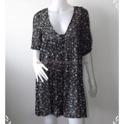 Dress0298--เดรสแฟชั่น นำเข้า สีดำลายตารางขาวแดง
