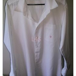 man00015--เสื้อเชิ้ต สีขาวลายทาง CHEQ อก 39นิ้ว