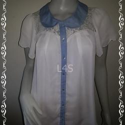 jp4367-เสื้อแฟชั่น ชีฟอง สีขาว sorridere อก free-36 นิ้ว