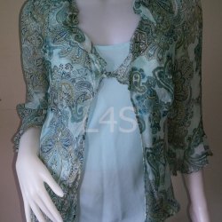 """jp3733-เสื้อแฟชั่น silk สีฟ้าลาย separates """"อก 38-40 นิ้ว"""""""