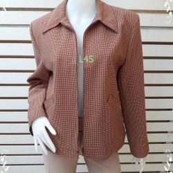 Jeans0056--เสื้อคลุม แจ็กเก็ค สีส้มลายตาราง อก 40 นิ้ว