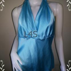 BN3880--เสื้อแฟชั่น silk คล่อยคอ สีฟ้า Express อก 33 นิ้ว