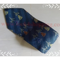 neck0042-เนคไทแบรนด์มือสอง Ermenegildo Zegna สีน้ำเงินคราม ลายดอกไม้