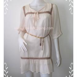 """Dress0153--เดรสแฟชั่น ชีฟอง สีครีม Paix Doua """"อก 44 นิ้ว"""