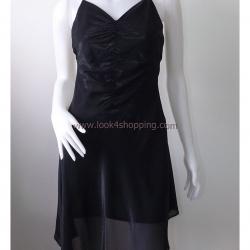 Dress0242--เดรสสั้น ชีฟอง สีดำ สวยๆ อก 32 นิ้ว
