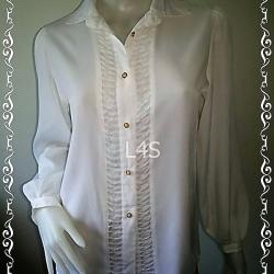jp4397-เสื้อเชิ้ต แฟชั่น นำเข้าญี่ปุ่น สีขาว อก 35 นิ้ว