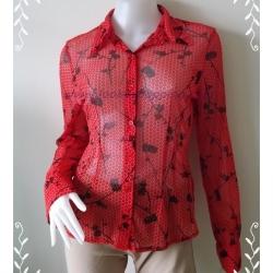 BN2323--เสื้อแฟชั่น สีแดง นำเข้า แบรนด์เนม NEW YORK & COMPANY อก 34-36 นิ้ว