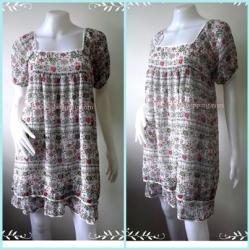 """Dress0730-เดรสแฟชั่น ชีฟอง สวย ๆ Loc style """"อก 32-35 นิ้ว"""""""