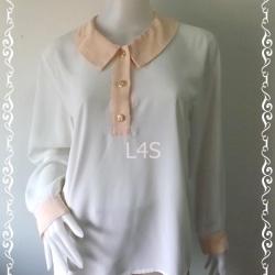 jp4339-เสื้อเชิ้ต แฟชั่น สีขาว อก 38 นิ้ว
