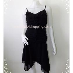 Dress0149-- เดรสแฟชั่น นำเข้า สีดำ อก 32 นิ้ว
