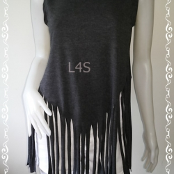 jp4470-เสื้อยืดแฟชั่น แขนกุด สีเทาเข้ม อก 34-36 นิ้ว