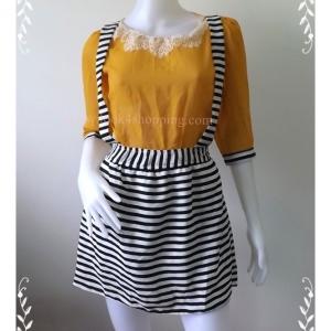 """Dress0702--เดรสแฟชั่น ชีฟอง สวยๆ """"อก 33 นิ้ว"""""""