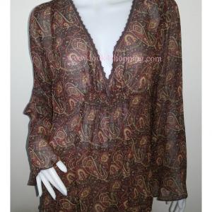 """BN3030--เสื้อผ้ามือสอง-->เสื้อแฟชั่น ชีฟอง สวยๆ liz lange """"อก 44 นิ้ว"""""""
