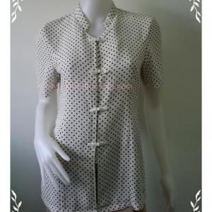 """women0014-เสื้อแฟชั่น ผู้ใหญ่ สีขาวลายจุด """"อก 35 นิ้ว"""""""