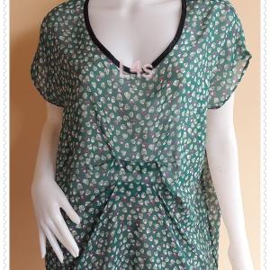 jp5212--เสื้อแฟชั่น ชีฟอง นำเข้า สีเขียว อก free*44 นิ้ว