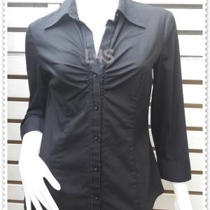 BN4843--เสื้อเชิ้ต นำเข้า สีดำ new york company อก 35-36 นิ้ว