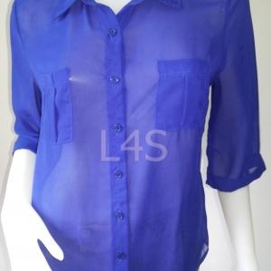 """jp3723-เสื้อแฟชั่น ชีฟอง สีน้ำเงิน A'GACI """"อก 37 นิ้ว"""""""