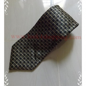 neck0039-เนคไทมือสอง Charleston Tie Rack สีเขียวหัวเป็ดลายกราฟฟิคสีทอง