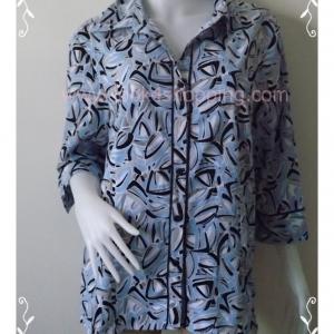 BNJ0542 เสื้อเชิ้ต สีฟ้าลาย แบรนด์เนม COVINGTON อก 46 นิ้ว