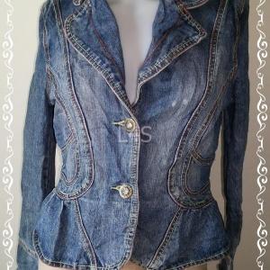 Jeans0003---เสื้อคลุมยีนส์ เสื้อยีนส์ มือสอง นำเข้า อก 34 นิ้ว