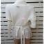 เสื้อตคลุมแบบผูกป้าย มือสอง สีขาวครีม DIVIDCD by H&M อก free-40 นิ้ว thumbnail 4