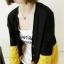 เสื้อคลุมทูโทน สีเหลืองสลับดำ ผ่าหน้าติดกระดุม thumbnail 2