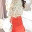 เสื้อแฟชั่น เสื้อชีฟอง ลายดอก สีขาว คอวี แขนยาว ไหล่พองเล็กน้อย thumbnail 3