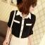 เสื้อเชิ๊ตทำงาน ชีฟอง สีดำ แขนยาวพับได้ติดกระดุม ตัดขอบสีขาว น่ารัก thumbnail 3