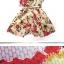 เดรสชีฟอง แขนกุด คอวีหน้า-หลัง ลายดอกจั๊มช่วงเอว (พร้อมสายผูกเอว) thumbnail 5
