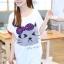 เสื้อยืดแฟชั่น สีขาว คอกลม แขนสั้น ตัวยาวคลุมสะโพก สกีนหน้าแมว thumbnail 5