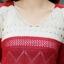 Sweater เสื้อกันหนาวแขนยาวลายขวาง แถบใหญ่ สีแดงสลับขาวครีม แขนแต่งฉลุ น่ารัก thumbnail 4