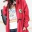 เสื้อคลุม มีฮู้ด สีแดง เชือกรูดดึงที่เอว กระเป๋าสองข้าง thumbnail 1