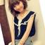 เสื้อผ้าชีฟอง คอแต่งระบายสวย แขนกุด สีน้ำเงิน ผูกโบว์น่ารัก thumbnail 4