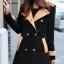 เสื้อโค้ท แฟชั่น สีดำแต่งกระดุม 2 แถว ตัวยาว Size L thumbnail 2
