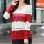 Sweater เสื้อกันหนาวแขนยาวลายขวาง แถบใหญ่ สีแดงสลับขาวครีม แขนแต่งฉลุ น่ารัก thumbnail 2